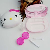 contact solution - Hello Kitty Contact lens case with Mirrors clamp sucker double box solution pink whitle contact lenses case