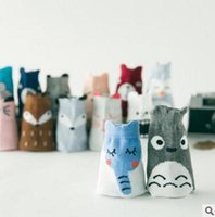 Wholesale 3 Sizes Kids Fox Socks Spring Baby Socks Toddlers Kids Animal Printed Socks Cartoon Totoro Socks Korea Socks Children Socks Y