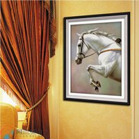 big leap - Needlework DIY Cross stitch Set For Embroidery kit Big Animal Leaping Horse pattern Cross stitch office decoration painting