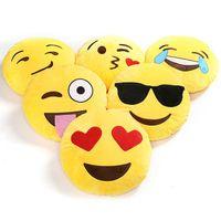 Wholesale Soft Emoji Smiley Emoticon Yellow Round Cushion Pillow Stuffed Plush Toy Doll Decorative Pillows
