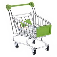 Wholesale Mini Shopping Cart Shaped Storage Basket Desktop Organizer Green for gift with pen or candy