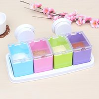 acrylic wall covering - New Sucker Wall Hanging Seasoning Sugar Creamer Storage Box Set Pepper Pots Acrylic Multifunction Kitchen Spice Jar With Shelf