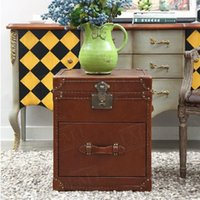 Wholesale American and French rural furniture vintage genuine leather cowhide storage box tank type console table side table