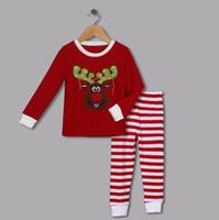 venda por atacado pyjama-Winter New Moda Crianças Pijamas Sets Natal Camisas De Algodão Vermelho E Branco Striped Pants Unisex Pijamas Meninas Vestuário CS41111-05