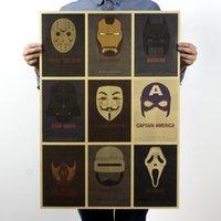 bar paper - Classic Movie Roles Mask Nostalgic Retro Kraft Paper Poster Fashion Wall Decor for Cafe Bar Hotel x51 cm
