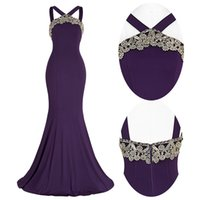beautiful art photos - Grace Karin Beautiful Dark Purple Backless Halter Sheath Mermaid Evening Dress Applique Ball Gown Bridesmaids Prom Party Dress ST000058