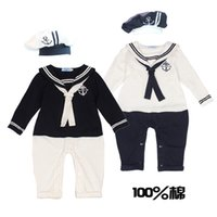 Wholesale 2015 spring new brand baby boys girls baby romper sailor dress withe hat collection suit newborn summer costume cotton long sleeve