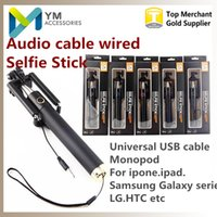 Wholesale Audio cable Integrated Monopod wired Selfie Stick Extendable Handheld Wired Built in Shutter and Clip for IOS iPhone Samsung Smart phone