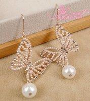 Wholesale wonderufl diamond buttefly pearl drop lady s earings mm nnsssp
