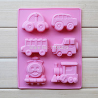 baking training - Cake Mold pc car train silicone mold chocolate fondant cake baking bakeware mould Children s Day Gift bus school