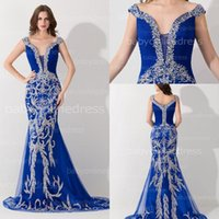 Wholesale Sheath Mermaid Royal Blue Tulle Prom Evening Dress Off Shoulder Formal Party Gowns With Unique Beading Sequins ElegantNew Gowns BZP0436