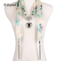 alloy warehouse - USA Warehouse Light Green Rose Printed Pendant Scarves for Women Silk Chiffon Scarves Necklaces White Heart Acrylic Fast Shipping SC150018