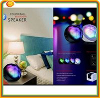 atmosphere controller - 100 DHL fee led light colorful atmosphere ball lighting hifi stereo bluetooth speaker with TF handsfree remote controller