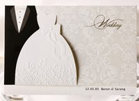 affordable invitations - Bride and Groom embossed affordable wedding invitations with insert and envelopes DHL UPS BH2046