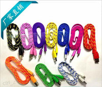 Wholesale Micro USB Braided Fabric V8 Charger Data Sync Nylon Flat Cable Cord Adapter Charging Flat Noodle M FT for Samsung Galaxy S6 S4 Note htc