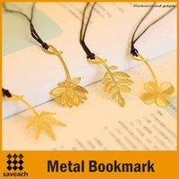 Wholesale 2015 New Fashion Golden vintage exquisite plant cutout blade metal bookmark metal openwork bookmark