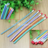 Wholesale 5Pcs School Stationery Writing Supplies Students Pencils Colorful Stripe Pattern