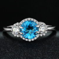 aquamarine gemstone rings - 2015 New Cuscinetto Bronzo Double Roller Roller Blades Silver aaaa Popular Natural Aquamarine Topaz Tourmaline Gemstone Rings Jewelry