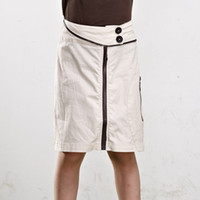 Wholesale Children Little Kids School Uniform Clothes Girls Skirts Straight Shape Knee Length Cotton Elegant For Summer In Beige Color