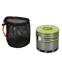 anodized pots - 1 L Portable Anodized Aluminum People Outdoor Camping Cookware Heat Collecting Exchanger Cooking Pot with Mesh Bag