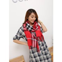 fashion cotton scarf - Burb Cashmere brand pashmina plaid wool silk xale cotton tartan shawl infinity men fashion scarf cape echarpes women