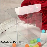 Wholesale HOT x6x6cm Clear PVC Birthday Gift Box Transparent Wedding Favor Boxes Chocolate Candy Boxes Event Sweets Bgas