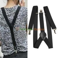 Wholesale Unisex Adjustable Pants Y back Suspender Brace Elastic mens Ladies Clip on Belt