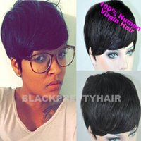 Wholesale Cheap Short Pixie Cut Human Natural Black Brazilian Hair Glueless Full Wig For Black Women Human Black Hair Short Cut Wigs