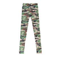 Wholesale Camouflage Stretch Pants - Wholesale-Stylish Womens Graffiti Stretch Leggings Skinny Pants Army Camouflage Trousers
