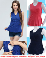 Wholesale Summer Soft Fabric V neck Maternity Tops Breastfeeding Clothes Nursing Tanks Sleeveless M L XL