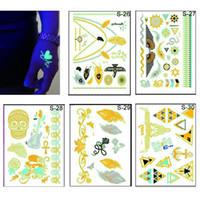 Wholesale 15 cm New Fluorescent Tattoo Stickers Luminous Metal Tattoo Stickers Hot Stamping Tattoo Paste Waterproof