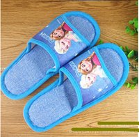 Wholesale Frozen House Shoes Chrismas Children Shoes Elsa and Anna Slippers Cotton and twine knitted