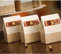 Wholesale 2015 Gold Favor Boxes Paper Square Candy Chocolate Boxes Favor Gifts With Bows