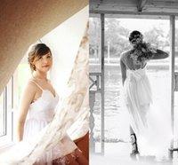 Cheap Model Pictures Sheath Wedding Dresses Best One-Shoulder Chiffon Beach Wedding Dress