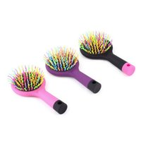 PVC Mix 3 colors Under $5 Rainbow Volume Anti-static Magic Detangler Hair Curl hairbrush Straight Massage Comb Brush Styling Tools With Mirror