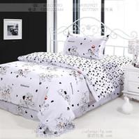 bedroom toddler - Dog print bedding sets cotton bed sheets bedspread kids cartoon twin size children toddler baby quilt duvet cover bedroom linen