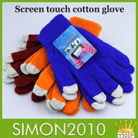 Wholesale Knitted braided cotton Screen touch gloves Autumn and winter capacitance phone surface contact gloves warm hand protect fiber to touch