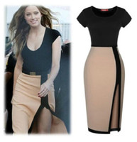 sexy lady nude - Sexy stitching short sleeved irregular Nude color Pencil Dress New Summer Party Evening Lady Clubwear Bodycon Casual Pretty Women s Dress