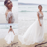 anna ball - Anna Campbell Sparkling Wedding Dresses Scoop Neckline Backless Lace Bridal Ball Gowns Tassels Floor Length Wedding Gown
