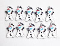 Wholesale Enamel Frozen Olaf the Snowman Metal Charm Pendants DIY Jewelry Making A