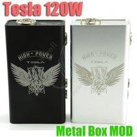 Cheap Authentic Tesla Metal 120W Box Mod E Cigarette Adjustable Voltage Wattage 120 Watts Vapor Mod Fit For 510 RDA Atomizers