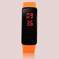 Precio de Pantallas digitales-Gafas de sol estilo nuevo led pantalla digital de pantalla táctil reloj de goma correa de silicona pulsera deportes relojes