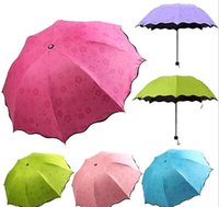 Wholesale 2015 Fashion Colorful Anti UV Parasol Flower Folding Sun Rain Windproof Umbrella