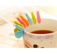 Wholesale Random Snail Shape Cute Silicone Tea Bag Holder Cup Mug Gift Snail Wineglass Label Christmas Gifts Home Decoration m0915