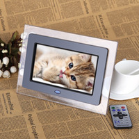 Wholesale 7 quot HD TFT LCD Digital Photo Frame with Slideshow Transparent Frame Alarm Clock MP3 MP4 Movie Player with Remote Desktop EU Plug D1528