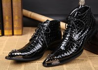 Wholesale 2014 fashion Crocodile grained Black tan mens retro boots work boots casual ankle boots pointed Toe genuine leather dress shoes
