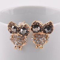 Wholesale New Gold Crystal Earrings Lovely Owl Stud Earrings for Women Jewelry Pendientes Brincos Free Shiping Y50 MHM450 M5