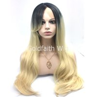 Cheap SF2 Cheap Long Ombre Dark Root Blond Wig Straight Kanekalon Natural Wig Lace Front Synthetic Hair Wig With Oblique Bang
