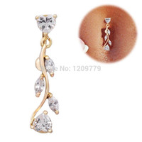 Wholesale 1pc Gold Dangle Belly Button Rings Body Piercing Reverse Sexy Navel rings H6633 W0