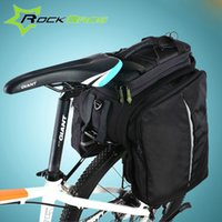 backpack rack - ROCKBROS Mountain Bike Bag Backpack With Camera Holder Folding Cycling Bicycle Rack Bag Rear Trunk Carry Bag Bike Acessorios